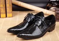 ingrosso scarpe alte in oxford-Scarpe da uomo in pelle verniciata punta a punta scarpe moda metallo testa uomo 6.5 / 4.5cm tacchi alti moda maschile oxford scarpe mujers