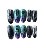 siyah tırnak modası toptan satış-Toptan Aşınma tırnak sanat Tutkal-on Moda siyah beyaz tam kapak Çivi 24 adet tutkal Tırnak seti