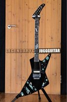 Wholesale explorer string for sale - Rare Boris Dommenget Matthias Jabs Scorpions Explorer Black Electric Guitar Chrome Floyd Rose Tremolo Tailpiece Abalone Star Planet Inlay