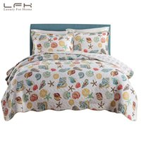 ingrosso regno dell'oceano comforter set-LFH Super Soft corallo Ocean Bedding Set Seashells Beach Tema Patchwork Quilt Set Consolatore 1 Quilt 2 Shams Shell Queen