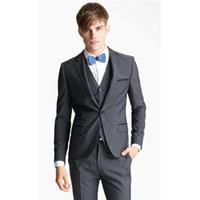узкие серые галстуки оптовых-Custom made Narrow Notch Lapel Gray Groom wear tuxedo Wedding Suits For Men Best man's Wedding men suit ( jacket+Pants+vest+tie)