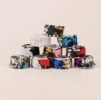 Wholesale mermaid bracelets - 30pcs Double Color Sequinned Bracelet Wristband Wrist Strap Mermaid Paillette Hand Waist