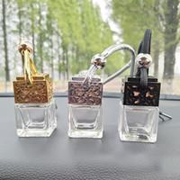 auto aroma flasche großhandel-8 ML Auto Parfüm Flasche Hohl Hängende Parfüm Ornament Lufterfrischer Für Ätherische Öle Diffusor Duft Leere Glasflasche HH7-1827