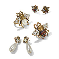Wholesale bees birthday - New Fashion Women Earrings Gold Plated AAA Rhinestone Insect Bee Earrings Brooches Rings for Girls Women Lovely Birthday Gift