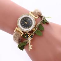новые канатные часы оптовых-Vintage Style Women Casual Leaves Braided Rope Strap Quartz Wrist Watch 2018 New Fashion Dress Ladies Bracelet Watch Relojes