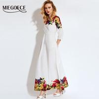 uzun çeyrek uzunlukta elbise toptan satış-Miegofce 2018 Çeyrek Kollu Ile Beyaz Çiçek Ayak Bileği Uzunlukta Yaz Elbise Vestido Vestidos De Fiesta Maxi Elbise Uzun
