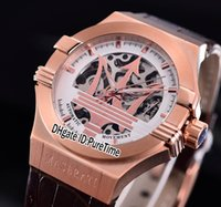 Wholesale red watch racing resale online - Best Version Maserati Potenza R8821108002 Rose Gold Skeleton Big Maserati Logo White Dial Automatic Mens Watch Leather Sport Racing Car b2
