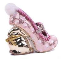 zapatos de tacón novedad al por mayor-2018 mujeres tacones altos Shinny Bling color mezclado con cordones escalas bombas talón elegante conejo oro novedad talones zapatos de boda