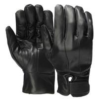 siyah kürk eldivenleri toptan satış-Erkek Yumuşak PU Deri Eldiven Sıcak Faux Fur İç, Yüksek Kalite Moda Erkekler Siyah Eldivenler Düğme Sonbahar Kış Taktik Eldiven