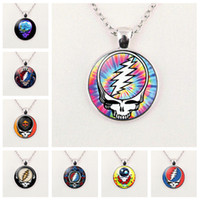 Wholesale Charm Grateful Dead Band Necklace Pendant Glass Cabochon Accessories Creative DIY Unisex Jewelry Gifts
