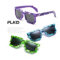 kinder quadratische brille großhandel-Nettes Kind scherzt Pixel-Sonnenbrille-Plaid-Quadrat-Baby-Sonnenbrille-Kindersonnenbrille-Abnutzungs-Strahlenschutz-HD-Harz-Brillen-Geschenke