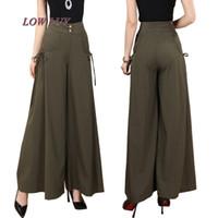 Wholesale women dresses pants resale online - New Plus size Summer fashion Women solid Wide Leg Loose cotton Dress Pants Female Casual Skirt Trousers Capris Culottes tb299
