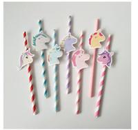 dekorasyon saman toptan satış-/ Düğün / Parti Dekorasyon Bebek Favor DIY Çocuk doğum günü için Payet İçme 10 ADET / Lot Unicorn Kağıt Straw Sevimli Renkli Unicorn