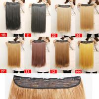 amerikanisches indisches blondes haar großhandel-Klipp in der einteiligen synthetischen Haar-Verlängerung 22inch 55cm 110g 5clips silk geraden hitzebeständigen Haarverlängerungen Freies Verschiffen