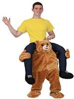 mascotes de urso adulto venda por atacado-Traje de mascote engraçado passeio em trajes de urso de pelúcia adulto animal engraçado vestir fantasia calças traje