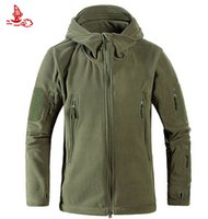 мужская куртка из флиса оптовых-Wholesale-Men windproof tad tactical fleece shooting mountain micro Thermal polar fleece Hooded jacket Coat Clothes Breathable male