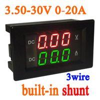 12v voltmeter für auto großhandel-Freeshipping 3.5-30V 20A DC Digital LED Voltmeter Amperemeter Amp Volt Meter eingebaute shunt 12 V 24 V AUTO Batterie
