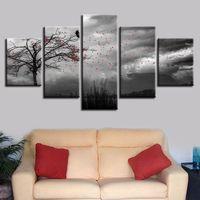 ingrosso scenario bianco nero-Stampa in bianco e nero Decor Wall Art 5 Pezzi Fiori che volano nel cielo e Tree Bird Scenario Modulare Canvas Painting