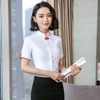 Wholesale buttons restaurant - New Short Sleeved Shirts Receptionist At The Western Restaurant Waitress Hotel Suitable For Spring Is Luscious