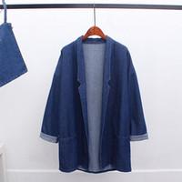 Wholesale Casual Coats For Women - Autumn spring Lapel Neck Denim Trench Coats for women Mori girl Loose Blue color women Outerwear