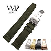 тканевые наручные часы оптовых-Rolamy 20 21 22 мм нейлон ткань кожа замена наручные часы группа петли ремень Раскладывающаяся застежка для