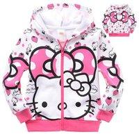 merhaba kitties kıyafetler toptan satış-Sıcak Sevimli Nedensel kızın Kazak Ceket Için Sonbahar Hello Kitty Hoodie Ceket 2-8yrs Kızlar Çocuklar Çocuk Kabanlar Kış Giysileri