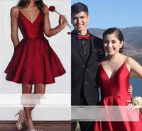 Wholesale Dress Little - Cheap 2018 New Burgundy V Neck Homecoming Dresses Spaghetti Straps Stain Short Mini Cocktail Dresses Prom Formal Party Gowns Custom Made