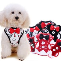 Wholesale fabric harness - Small Dog Harness Fabric Dog Vest Evening Dress Butterfly Bow Tie Puppy Coat Leashes Summer Pet Apparel 12 Designs DHL Free YW1117