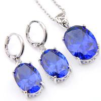 Wholesale Ellipse Necklace - Novel Luckyshine 5 Sets Delicate Ellipse Fire Blue Topaz Cubic Zirconia 925 Silver Pendants Necklaces Earrings Gift Wedding Jewelry Sets