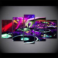 Wholesale canvas wall art ny - HD Printed 5 Pieces Canvas Art Painting Bar DJ Poster Wall Carnival Night Pictures for Living Room Decor Free Shipping NY-7295B