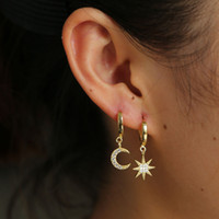 Wholesale sterling charm hoops resale online - moon star earring dangle cute moon starbust charm gold plated Christmas gift gift sterling silver Gorgeous women jewelry