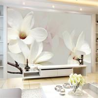 große papierblumenwände großhandel-Moderne einfache Mode Lily Flower große Wandmalerei Custom jede Größe 3D Wandbild Tapete Hintergrund Dekor Foto Wall Paper