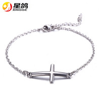 Wholesale Indian Lucky - Jesus Christian Womens Mens stainless steel Cross charms Bracelets Silver Religious Trendy Chain Bracelet Lucky Jewelry Wholesale