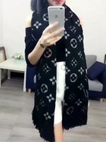 Wholesale pashmina brand scarves resale online - High Qualtiy Luxury Brand Cashmere scarf for Women Designer Long Scarves with silver thread Shawls Wrap With Tags x40cm Shawls RT0050