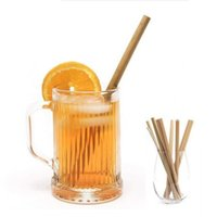 ingrosso bambù per bar-Paglia di bambù ecologica materiale 100% naturale che beve bevande riutilizzabili paglia pulitore di pulitore spazzola cannucce borse festa bar potabile strumento