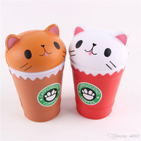 Wholesale squeeze cup - Squishy Jumbo Cat Head Coffee Cup Kawaii Slow Rising Squishies Squeeze Cartoon Kid Toys Cute simulation Decompression Gifts 14mj YY