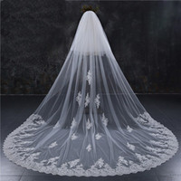 Wholesale long red cathedral wedding veils - New Style Two Layers Full Edge with Lace Luxury 3 Meters Long Wedding Veil with Comb White Ivory Bridal Veil Velos De Novia