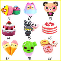 Wholesale panda rabbit - Squishy Toys squishies Rabbit tiger owl panda pineapple bear cake mermaid Slow Rising Squeeze Cute Cell Phone Strap gift for kid to