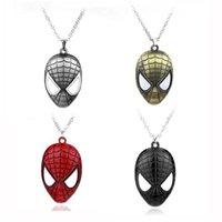 jóia de máscara de festa venda por atacado-MOQ: 10 PCS Moda Pingente de Colar de Jóias dos homens Filme Os Vingadores Spiderman Máscara Unisex Colares Liga Presente Do Partido Para homens