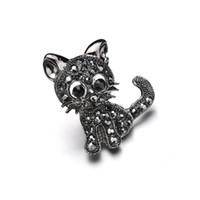 ingrosso collare nero strass-Nuove donne di stile vintage nero cristallo carino gatto spille strass perni collare corsetto spilla badge accessori gioielli