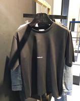 xl gömlek tasarımı toptan satış-2018SS Moda Mektup Tasarım erkekler Rahat Pamuk kısa kollu SAIN LAURE T Shirt Kadın Ince Asya boyutu S-XL