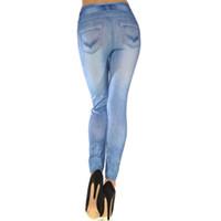 imitação de leggings denim venda por atacado-Yoga leggings mulheres Imitação denim impresso mito denim impresso calças recortadas roupas feminina
