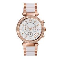 женские наручные часы оптовых-2018 женские часы Parker Rose Gold-Tone 5774 хронограф белые розовые золотые двухцветные женские часы