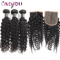 Wholesale amazing hair weave online - a Peruvian Virgin Hair Deep Wave Bundles with Lace Closure Top Remy Human Hair Weaves For Black Women Amazing Hair Extensions