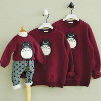 Wholesale Family Sweatshirts - Wholesale-Totoro Hoodie 2017 Fashion Lovers Fashion Women Family Mother And Child Dress Sweatshirts Cotton Moletom Sudadera Mujer Z20