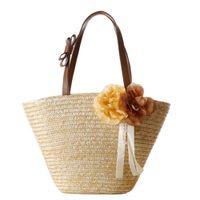 ingrosso grandi fiori fatti a mano-Borse a tracolla di alta qualità Ladies Shopping Tote Bag da viaggio 2018 Fashion Beach Bag per l'estate Big Flower Straw Handmade Woven