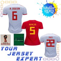 Wholesale ms wear - Spain women away home soccer Jersey 2018 World Cup 3 PIQUE 6 A.INIESTA Ms 15 RAMOS 18 19 Football wear ASENSIO SILVA ISCO 2019 Sweatshirt