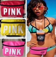 Wholesale Transparent Nylon Bags - Fashion women love pink waist packs women beach belt bag waist bags transparent waterproof waist pouch packs Top Quality Travel Polyester Ba