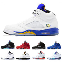 ingrosso illuminazione aqua-Light Aqua Laney 5 Uomo Donna Scarpe da basket 5s International Flight Blue Red Suede White Cement OG Nero Designer Sport Sneaker Taglia 5-13