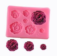 molde de silicona fondant rose al por mayor-Sugarcraft Rose Flower molde de silicona fondant molde herramientas de decoración de pasteles de chocolate confeitaria molde para hornear accesorios